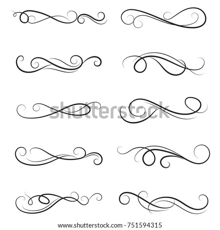 Vector Illustration Set Border Calligraphic Dividers Stock