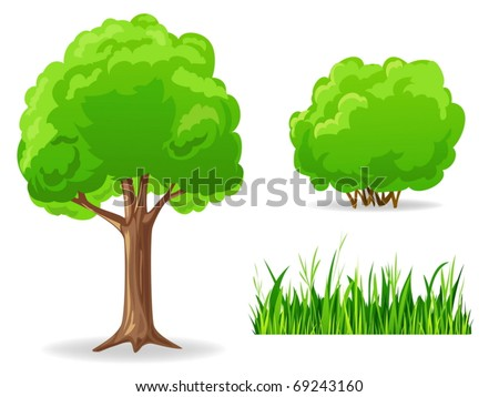 Vector illustration. Set of cartoon green plants. Tree, bush, grass. - stock vector