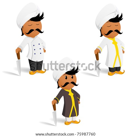 Vector illustration. Set of cartoon indian male cook chef with mustache - stock vector