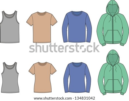 Vector illustration. Set of casual clothes. Men's and women's options. T-shirt, smock, singlet, jumper