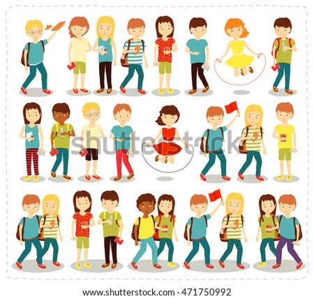 Vector illustration set of children students pupils doing different fun activities liking painting studying sports