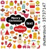 Vector illustration - set of christmas icons - stock photo