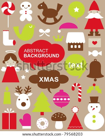 Vector illustration - set of Christmas icons - stock vector
