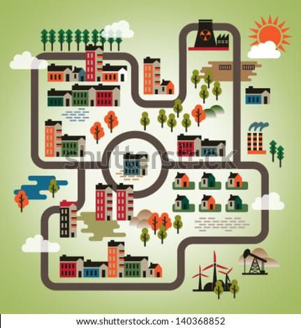 Vector illustration. Set of city - stock vector