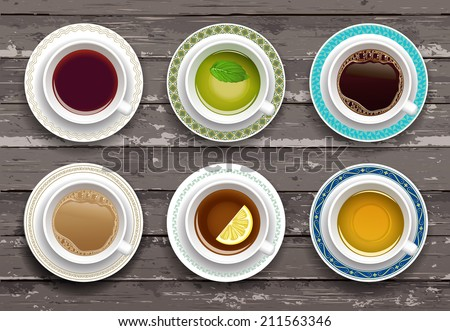 Vector illustration. Set of coffee and tea cups on a wooden table. Top view - stock vector