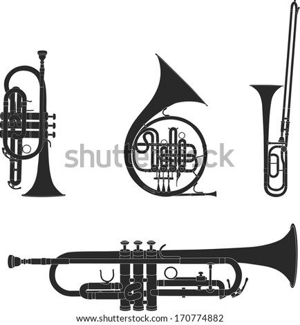 Vector illustration set of collected wind Instruments - stock vector