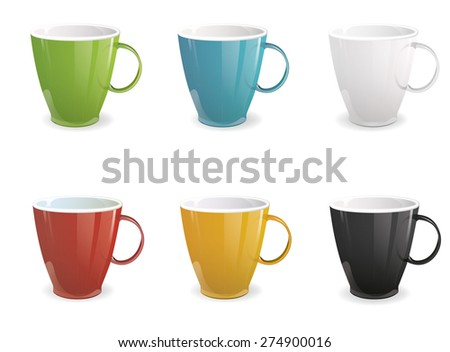 Vector illustration set of colorful cups isolated on white background