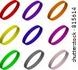 Vector illustration set of colorful 3d bracelets/rings/wristbands - stock vector