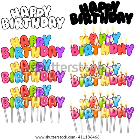 Vector illustration set of colorful Happy Birthday text on stick and candles.