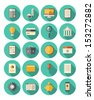 Vector illustration set of colorful icons in modern flat design style with long shadow effect on financial and business theme.  Isolated on white background.  - stock vector