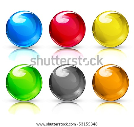 Vector illustration set of colouful refracting Glass balls/button spheres on a white background. - stock vector