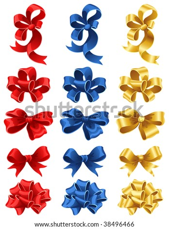 Vector illustration - set of colourful gift bows - stock vector
