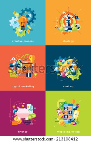 Vector illustration set of concepts for business and finance - stock vector