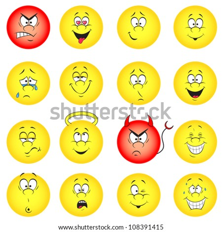 Vector illustration set of cool smile-balls. All elements are grouped.