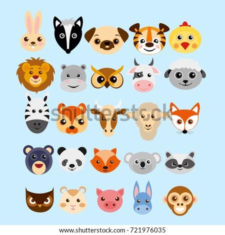 Vector Illustration Set Cute Cartoon Animals Stock Vector