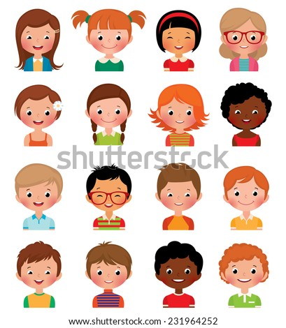 Vector illustration set of different avatars of boys and girls on a white background/Set of avatars of different boys and girls/Icon set portraits of boys and girls isolated on white background - stock vector