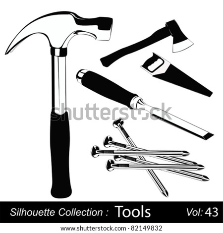 Vector illustration set of different hand tools for handcraft works - stock vector
