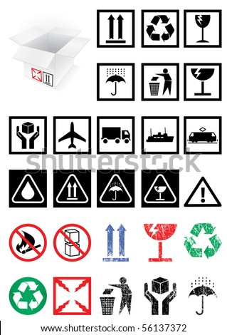 Vector illustration set of different packing symbols, e.g. fragile, recycle. All vector objects and details are isolated and grouped. Colors and transparent background are easy to adjust. - stock vector