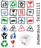Vector illustration set of different textured packing symbol stamps, e.g. fragile. All vector objects and details are isolated and grouped. Colors and transparent background are easy to adjust. - stock vector