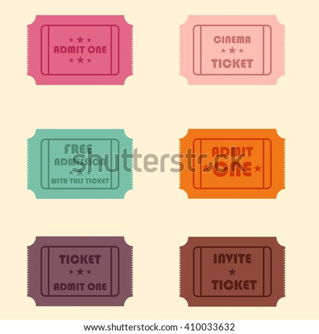 vector illustration set of different tickets - stock vector