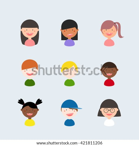Vector Illustration: Set of diverse avatars, kids with different nationalities, clothes and hair styles. Cute, cartoon, simple, flat, abstract
