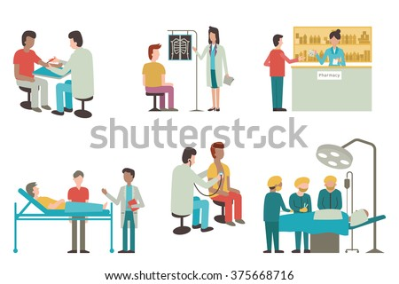Vector illustration set of doctor and patient in medical activity, injection, examination, operation, pharmacy and health care. Flat design. - stock vector