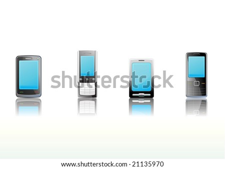 Vector illustration - set of elegant black communication device icons - stock vector