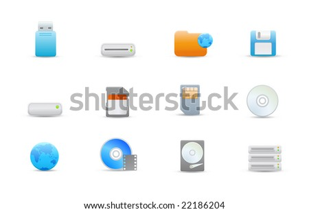 Vector illustration - set of elegant simple icons for common storage devices - stock vector
