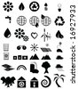 Vector illustration set of 35 environmental icons in black and white. For jpeg version, please see my portfolio. - stock vector