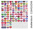 vector illustration set of flag of 110 nations in valentine heart shape - stock photo