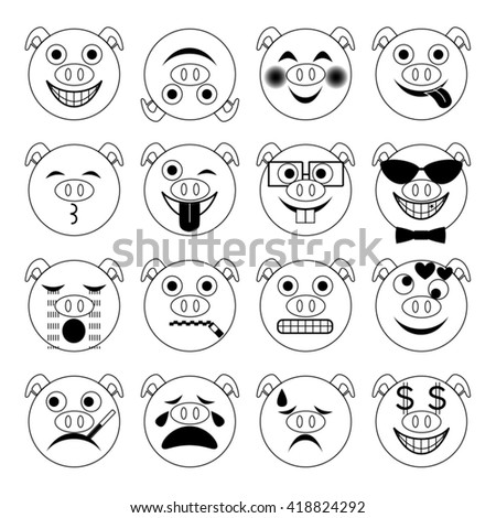 vector illustration set of flat pig emoticons in black and white - stock vector