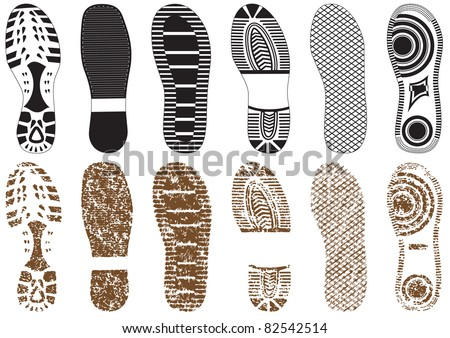 Vector illustration set of footprints with & without sand texture. All vector objects are isolated and grouped. Colors and transparent background color are easy to customize. - stock vector