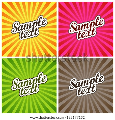 Vector Illustration: Set of Four Backgrounds with Colored Sun Rays for Label Design - stock vector