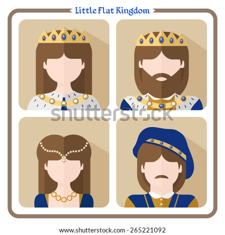 Vector illustration: set of four flat characters - The Royals: king, queen, prince and princess - stock vector