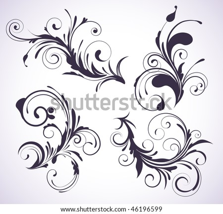 Vector illustration set of four swirling flourishes decorative floral elements - stock vector