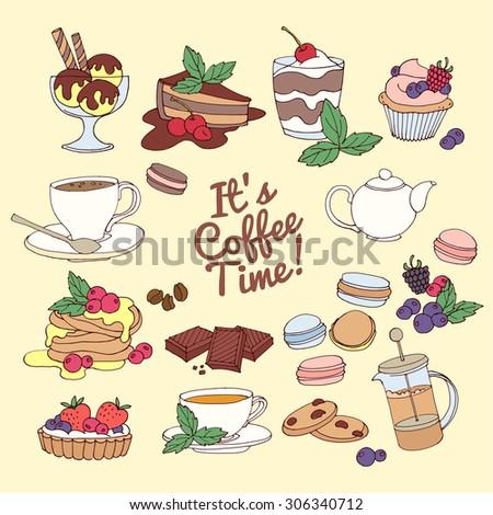 Vector illustration Set of fresh desserts , coffee, tea, berry, ice cream, cupcakes and chocolate - stock vector