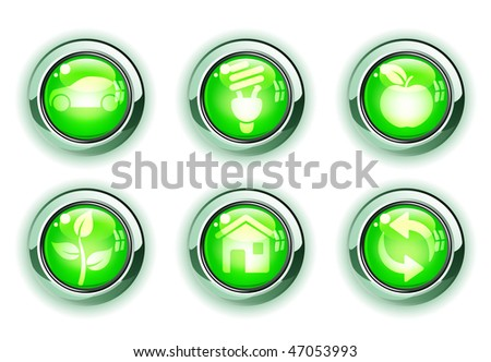 Vector illustration set of green ecologe icons - stock vector