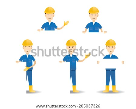Vector illustration set of Hard Worker with Empty Sign - stock vector