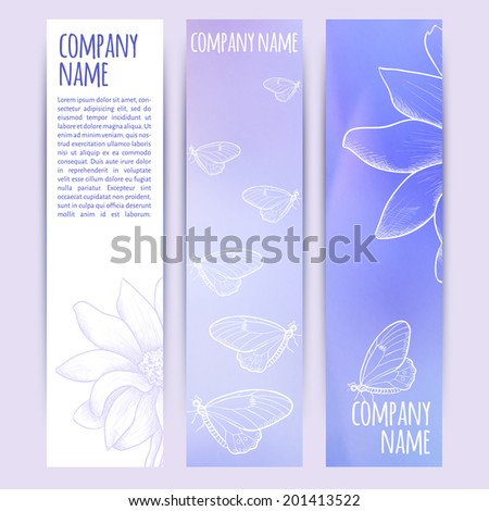 vector illustration. Set of  horizontal banners with blurred grass and flower background and flower sketch - stock vector