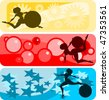 Vector illustration:set of horizontal banners with girls and gymnastic balls silhouettes against abstract backgrounds. - stock vector
