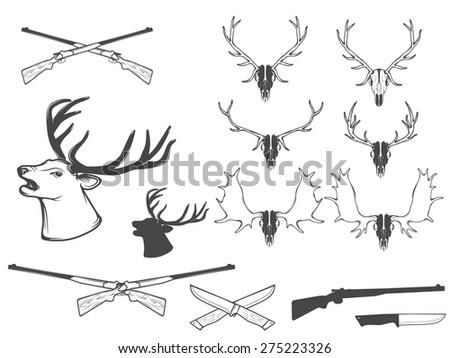 Vector illustration,set of hunting attributes. - stock vector