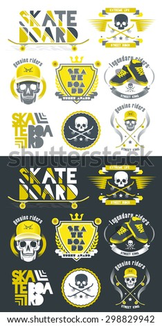 vector illustration set of icons to the extreme brand of street shops or festivals skateboarding competitions, Vintage creative design graphics for T-shirts - stock vector