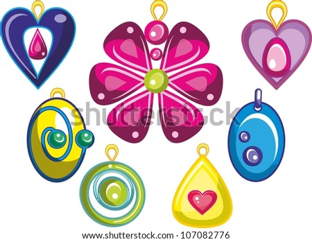 Vector illustration - set of    isolated  cartoon  jewel  on white background - stock vector