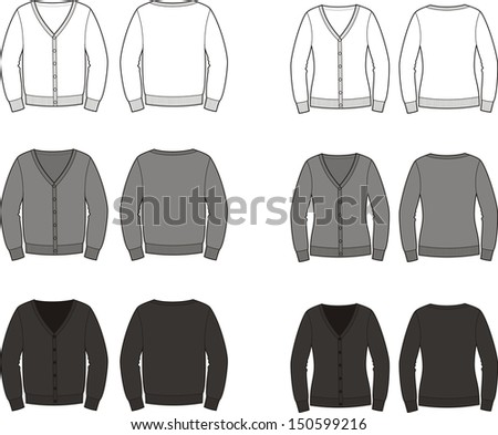 Vector illustration. Set of men's and women's cardigans. Front and back views. Different colors: white, grey, black - stock vector