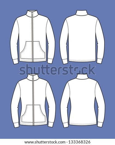 Vector illustration. Set of men's and women's jumpers. Sport clothes. Front and back views