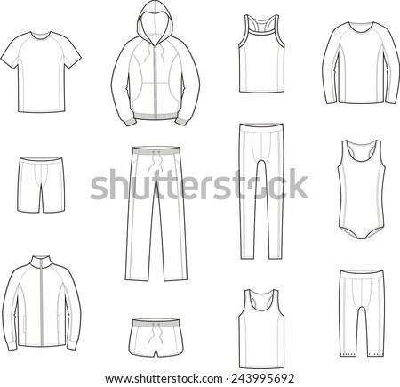 Vector illustration. Set of men's sport clothes - stock vector