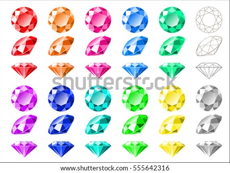 Vector illustration set of multi-colored classic round brilliant cut diamonds with wireframe diagram. Top, side and isometric view