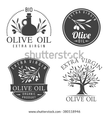 Vector illustration set of olive labels and badges isolated on white background. Olive oil labels - stock vector
