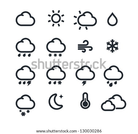 Vector illustration set of original mono weather icons - stock vector