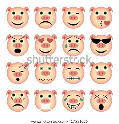vector illustration set of pig emoticons  - stock vector